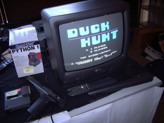 Duck Hunt awaiting players at the Karoshi booth